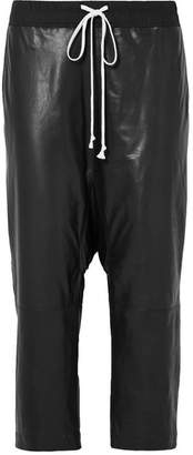 Rick Owens Cropped Cotton-jersey Trimmed Leather Pants - Black
