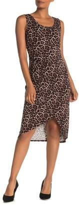 T Tahari Leopard Print High/Low Tank Dress