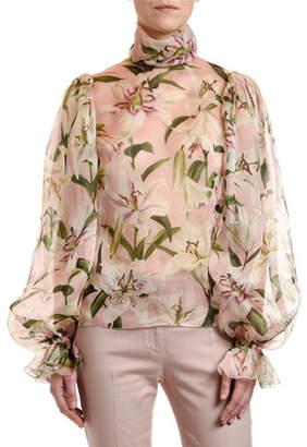 Dolce & Gabbana Lily Organza Turtleneck Blouse