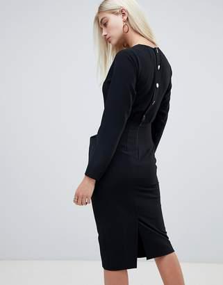 Asos Design DESIGN long sleeve midi pencil dress with button back