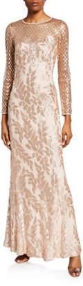 Tadashi Shoji Sequined Jewel-Neck Long-Sleeve Crepe Gown