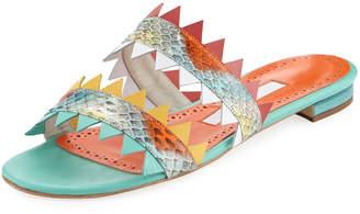 Manolo Blahnik Arpege Sharkbite Flat Slide Sandals