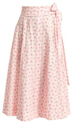 Lisa Marie Fernandez Embroidered eyelet cotton midi skirt