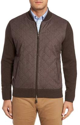 Peter Millar Crown Quilt Front Merino Wool Blend Cardigan