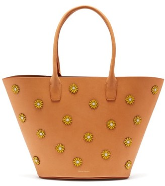 Mansur Gavriel Sunflower Embellished Leather Tote Bag - Womens - Tan Multi