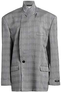 Vetements Women's Plaid Wool Cross Button Jacket