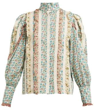 Gucci Ruffled Floral Print Cotton Blouse - Womens - Ivory Multi