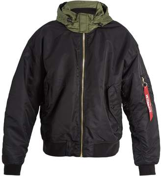 Vetements Contrast-panel hooded bomber jacket
