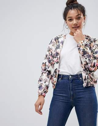 Brave Soul Cupid Floral Short Hooded Jacket