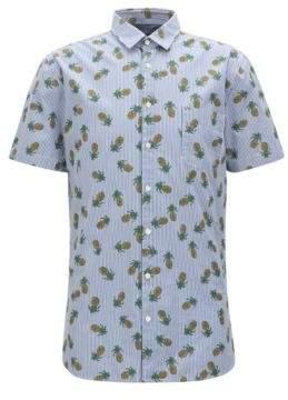 BOSS Hugo Striped & Pineapple-Print Cotton Sport Shirt, Slim Fit Cattitude Short XL Dark Blue