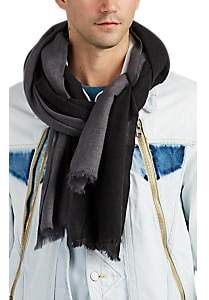 From The Road Men's Sava Colorblocked Wool-Cashmere Gauze Scarf - Gray
