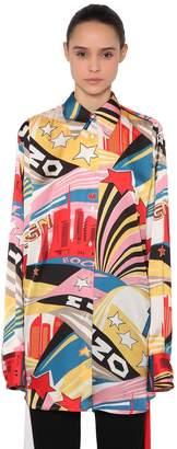 MSGM Oversized Tribute Print Satin Shirt