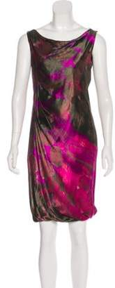 Alberta Ferretti Sleeveless Midi Dress Magenta Sleeveless Midi Dress