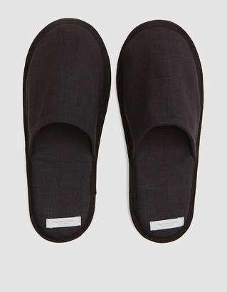 Fog Linen Linen Slippers in Graphite - Large