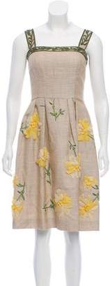 Oscar de la Renta Floral Linen-Blend Dress