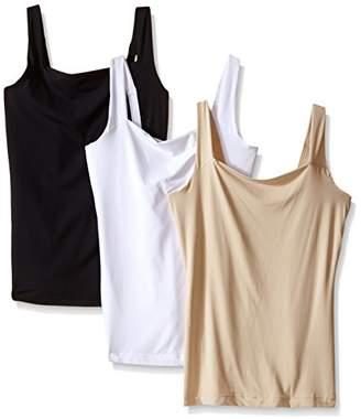 Flexees Women's Maidenform Shapewear Fat Free Dressing Tank 3 Pack Bundle