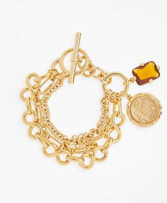Brooks Brothers Gold-Plated Three-Layer Chain Charm Bracelet