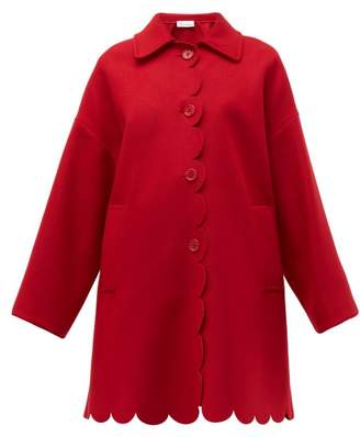 RED Valentino Scalloped Single Breasted Wool Blend Coat - Womens - Red