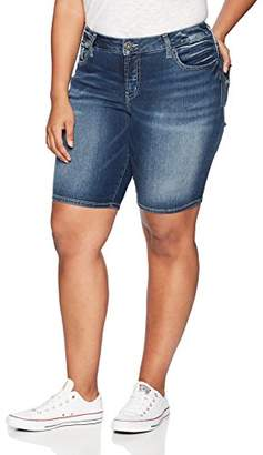 Silver Jeans Co. Women's Plus Size Suki Curvy Fit Mid Rise Bermuda Shorts