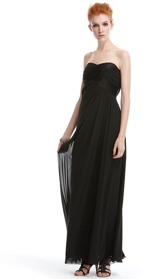 ABS by Allen Schwartz Women's Strapless Chiffon and Tucks Gown