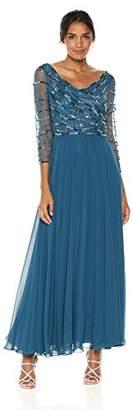 J Kara Women's 3/4 Sleeve Beaded Gown