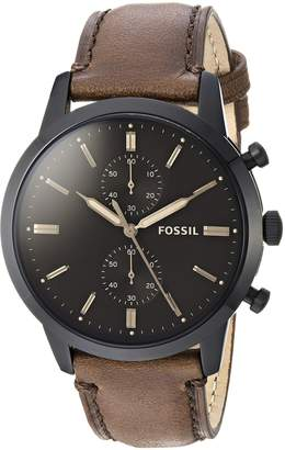 Fossil Men's 'Townsman' Quartz Stainless Steel and Leather Casual Watch, Color (Model: FS5437)