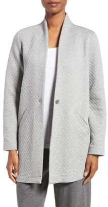 Women's Eileen Fisher Quilted Jersey Stand Collar Jacket $298 thestylecure.com