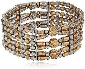 1928 Jewelry Gold-Tone and Silver-Tone 6-Row Stretch Bracelet