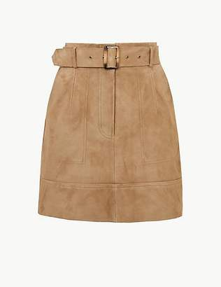 M&S Collection Suede Belted A-Line Mini Skirt