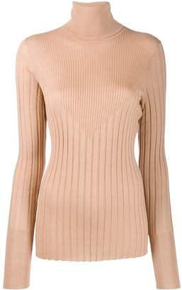 Nude roll neck knitted top