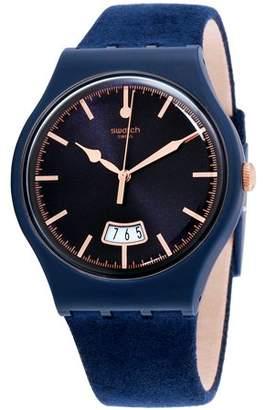 Swatch Originals Cent Bleu Blue Dial Leather Strap Unisex Watch SUON400