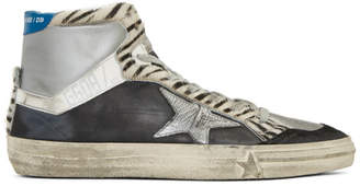 Golden Goose Black and Silver Zebra High-Top Sneakers