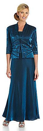 KM Collections Beaded Shimmer Jacket Dress