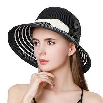 a7e17c514e9 Jeff   Aimy Womens Foldable Straw Sun Hat SPF UV Protection Wide Brim  Stylish Panama Fedora