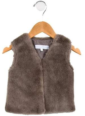 Tartine et Chocolat Girls' Faux Fur V-Neck Vest
