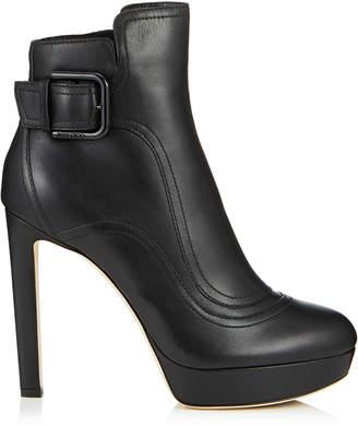 Jimmy Choo BRITNEY 115 Black Smooth Leather Platform Booties