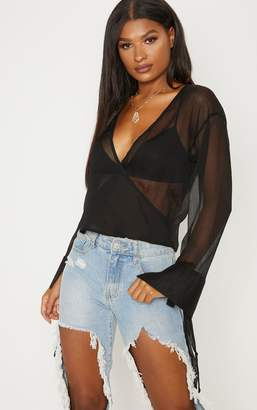 PrettyLittleThing Black Sheer Mesh Wrap Front Blouse