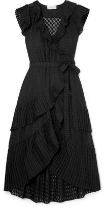 Zimmermann Plissé-trimmed Fil Coupé Voile Wrap Dress - Black