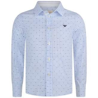 Armani Junior Armani JuniorBoys Blue Logo Patterned Shirt