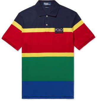 Polo Ralph Lauren Hi-Tech Appliquéd Striped Cotton-Jersey Polo Shirt