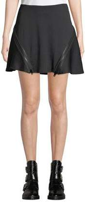 Opening Ceremony Zip Flare Ribbed Mini Skirt