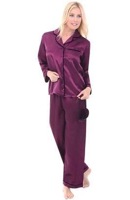 Alexander Del Rossa Womens Satin Pajamas, Long Button-Down Pj Set and Mask, 2X (A0750PBP2X)