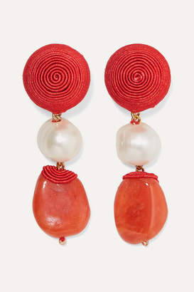 Rebecca De Ravenel Short Treasures Gold-plated, Cord, Pearl And Agate Clip Earrings - Red