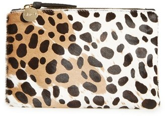 Clare V. 'Core' Leopard Print Genuine Calf Hair Pouch - Brown $135 thestylecure.com