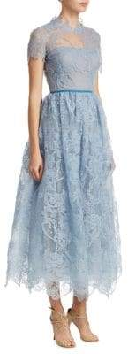 Marchesa Scalloped Lace Gown