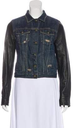 Rag & Bone Leather-Trimmed Denim Jacket
