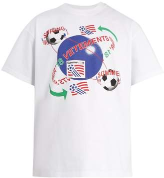 Vetements Football Print Cotton T Shirt - Mens - White Multi