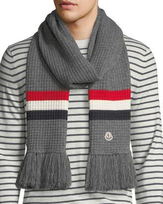 Moncler Men's Tricot-Knit Scarf w/ Fringe