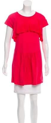 Miu Miu Ruffle-Accented Short Sleeve Tunic