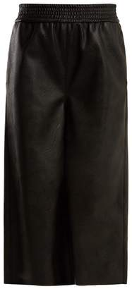 Stella McCartney Wide Leg Cropped Faux Leather Trousers - Womens - Black
